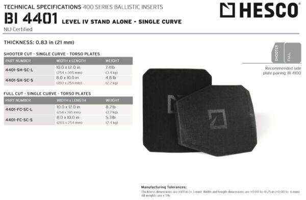 HESCO 4401 - 400 Series Armor Level 4 Stand Alone Plates